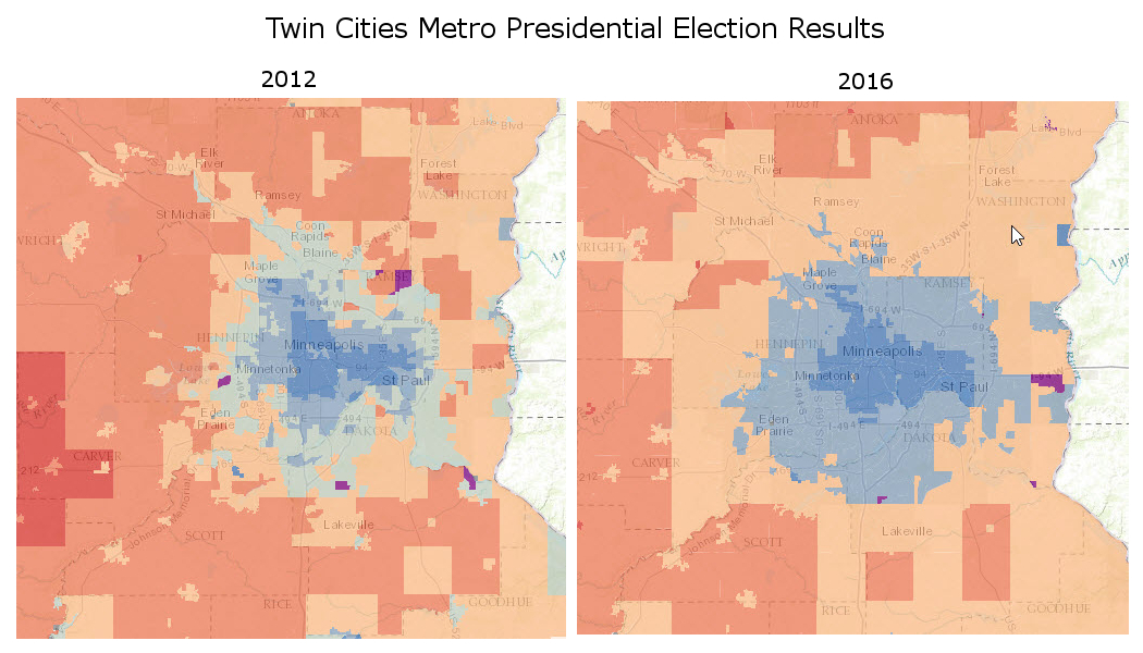 Twin Cities Presidential Election Maps